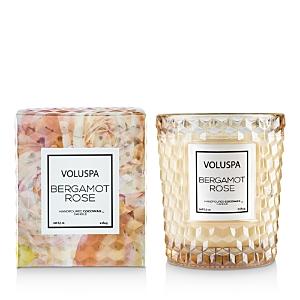 Voluspa Bergamot Rose Embossed Glass Candle 6.5 oz.