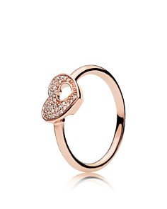 PANDORA Rose Shimmering Puzzle Heart Frame Ring - Bloomingdale's_0