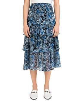 The Kooples - Tiered Floral Paisley Silk Skirt