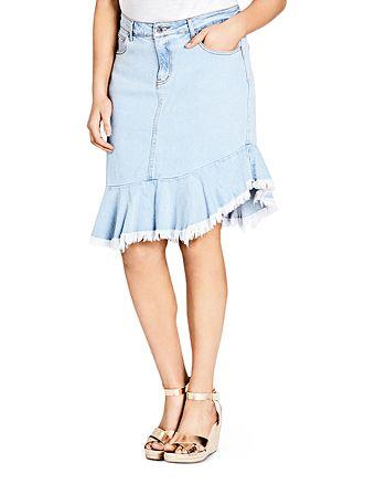City Chic Plus - Asymmetric Frayed Hem Denim Skirt