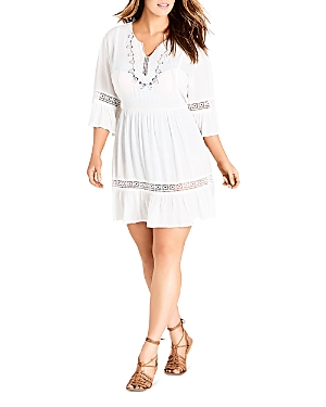 City Chic Plus Embroidered Bell-Sleeve Dress