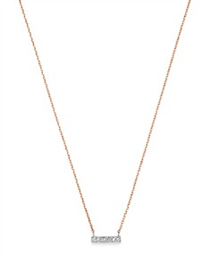 Moon & Meadow - Diamond Bar Pendant Necklace in 14K White & Rose Gold, 0.02 ct. t.w. - 100% Exclusive