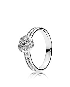 PANDORA Sterling Silver & Cubic Zirconia Sparkling Love Knot Ring - Bloomingdale's_0