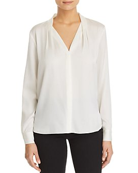 Elie Tahari - Rosalina Pleated V-Neck Blouse
