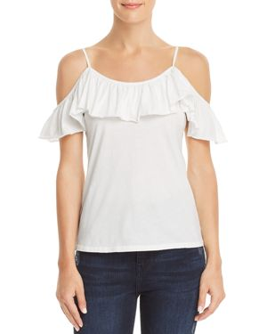 MICHELLE BY COMUNE BERRIEN RUFFLED COLD-SHOULDER TEE