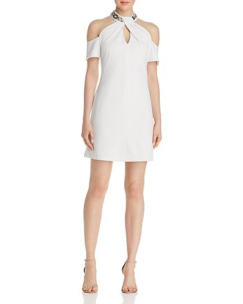 AQUA - Embellished Cold-Shoulder Dress - 100% Exclusive