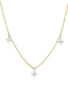 Bloomingdale's - Diamond Clover Station Necklace in 14K White & Yellow Gold, 0.30 ct. t.w. - 100% Exclusive