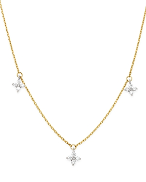 Bloomingdale's Diamond Clover Station Necklace in 14K White & Yellow Gold, 0.30 ct. t.w. - 100% Excl