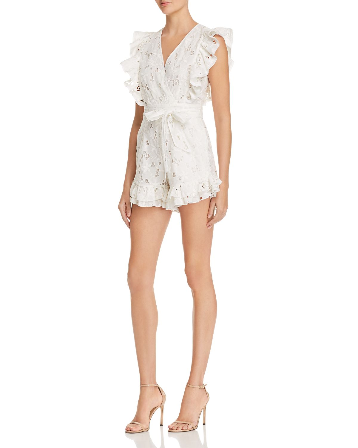 Adriana Ruffled Lace Romper by Rebecca Taylor
