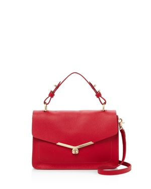 Vivi Calfskin Leather Satchel - Red in Fire Red