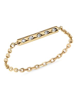 SUEL 18K YELLOW GOLD DIAMOND CHAIN RING