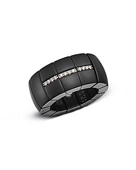 Roberto Demeglio - 18K White Gold & Matte Black Ceramic Domino Luce Stretch Ring with Diamonds