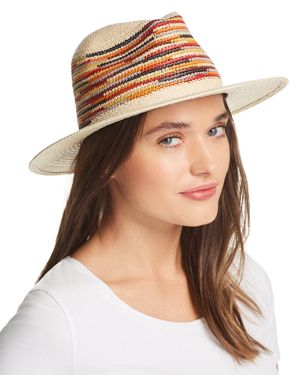 Panama Straw Hat, Red Multi