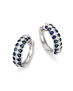 Bloomingdale's - Blue Sapphire & Diamond Hoop Earrings in 14K White Gold - 100% Exclusive