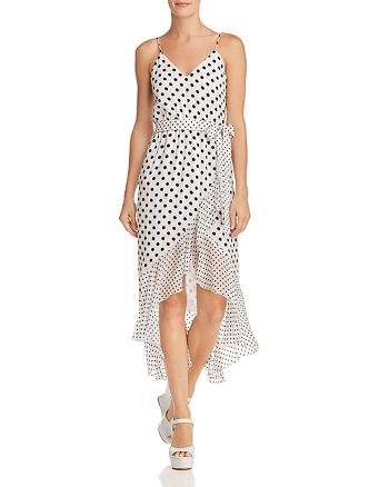 Alice and Olivia - Mable Polka Dot Faux-Wrap Dress