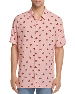 BARNEY COOLS Watermelon Regular Fit Button-Down Shirt in Pink Watermelon