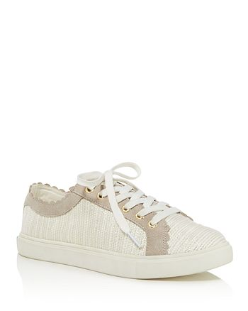Jack Rogers - Women's Scalloped Suede & Tweed Low Top Lace Up Sneakers