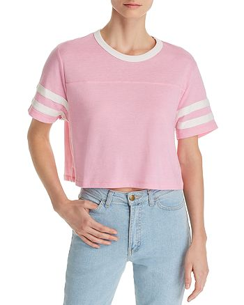 ALTERNATIVE - Striped-Sleeve Cropped Tee - 100% Exclusive