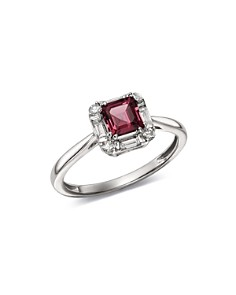 Bloomingdale's - Rhodolite Garnet & Diamond Square Ring in 14K White Gold - 100% Exclusive