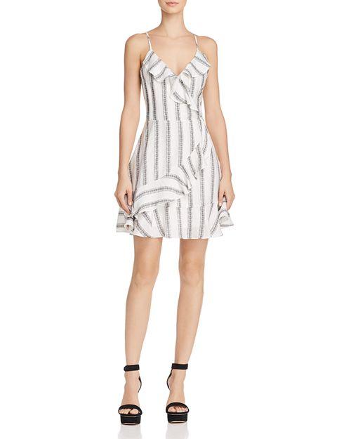 Blu Pepper - Striped Faux-Wrap Dress