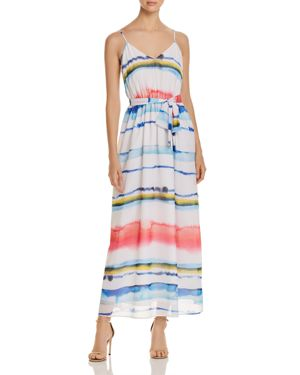 CATHERINE CATHERINE MALANDRINO Tie-Dye Striped Chiffon Maxi Dress in Multi