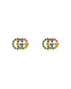 Gucci 18K Yellow Gold Running G Mixed Gemstone Stud Earrings - Bloomingdale's_0