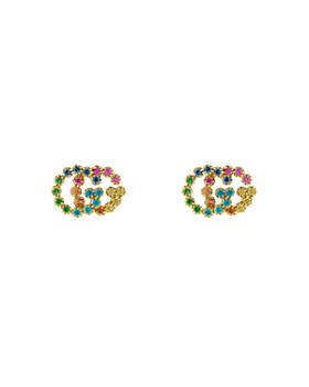 40470cf201a Gucci - 18K Yellow Gold Running G Mixed Gemstone Stud Earrings