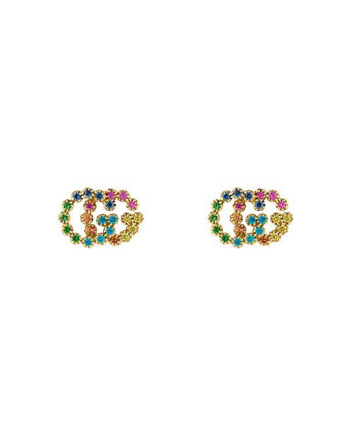 Gucci - 18K Yellow Gold Running G Mixed Gemstone Stud Earrings
