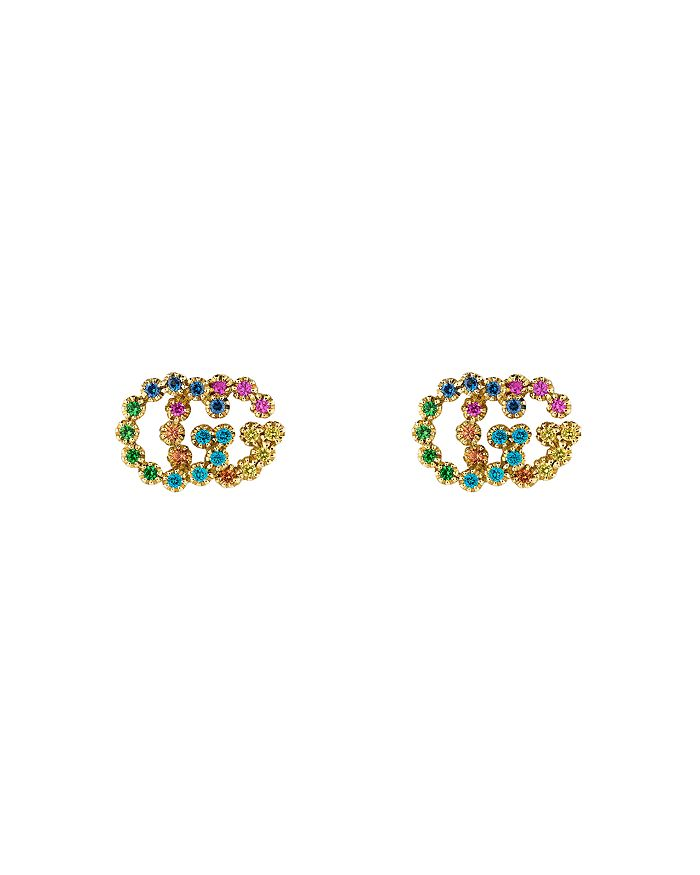 Gucci - 18K Yellow Gold Running G Mixed Gemstone Stud Earrings