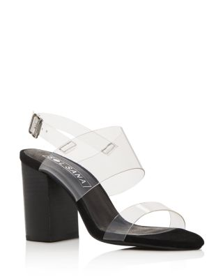 Women's Mavis Transparent Strap Block Heel Sandals by Sol Sana