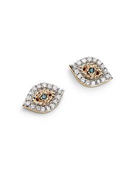Adina Reyter - 14K Yellow Gold Pavé Blue & White Diamond Tiny Evil Eye Stud Earrings