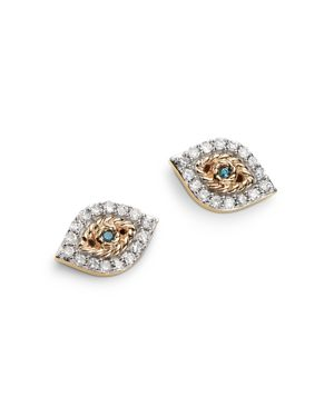 ADINA REYTER 14K YELLOW GOLD PAVE BLUE & WHITE DIAMOND TINY EVIL EYE STUD EARRINGS