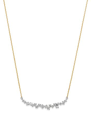 """Adina Reyter - Sterling Silver & 14K Yellow Gold Scattered Diamond Curve Necklace, 15"""""""