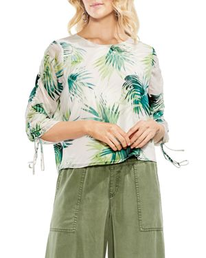 Drawstring Sleeve Sunlit Palm Print Top, Verdant Green