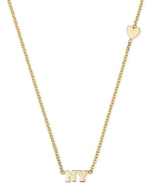Zoe Chicco 14K Yellow Gold Tiny Heart & Ny Necklace, 16