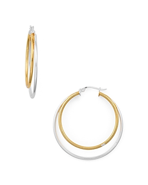 Double Hoop Earrings in 18K Gold-Plated Sterling Silver and Sterling Silver