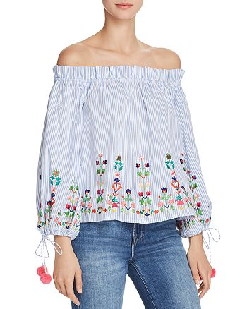 AQUA - Embroidered Striped Off-the-Shoulder Top - 100% Exclusive