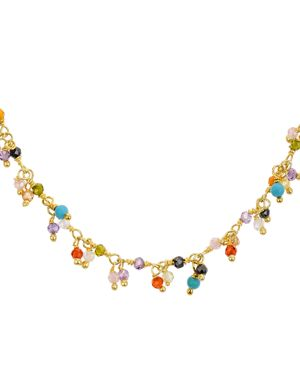 Gold-Plated Multi-Stone Necklace, 15, Multi/Gold