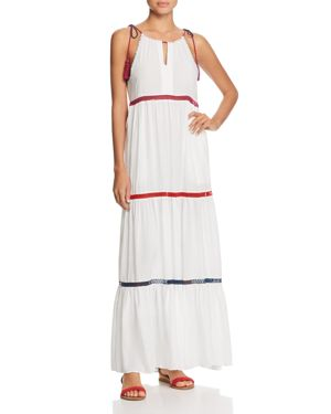 RED CARTER IN STITCHES TIERED MAXI DRESS SWIM COVER UP