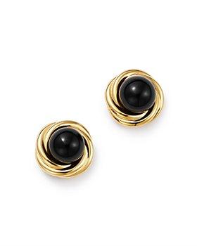 Bloomingdale's - Onyx Swirl Stud Earrings in 14K Yellow Gold - 100% Exclusive