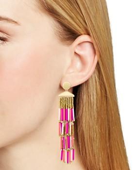 Rebecca Minkoff - Beaded Fringe Statement Drop Earrings