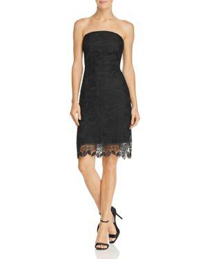Strapless Pineapple Lace Dress, Black