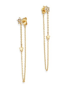 Moon & Meadow - Diamond Star Front-Back Draped Chain Earrings in 14K Yellow Gold, 0.13 ct. t.w. - 100% Exclusive