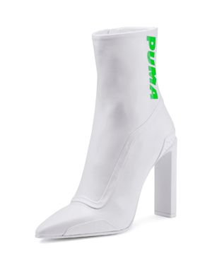 Fenty Puma X Rihanna Leather Pointed Toe Racing Booties in White