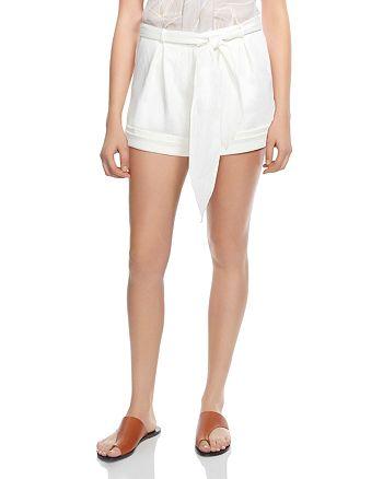 HALSTON HERITAGE - Tie-Waist Sateen Shorts