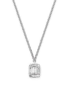 "KC Designs - 14K White Gold Mini Mosaic Diamond Pendant Necklace, 16"""