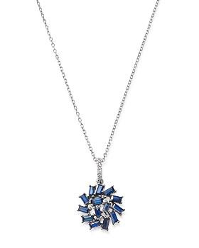"""KC Designs - 14K White Gold Mosaic Sapphire Baguette & Diamond Pendant Necklace, 16"""""""