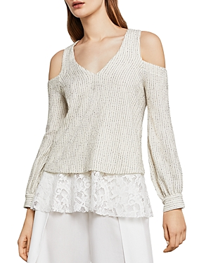 Bcbgmaxazria Hansen Mixed Media Cold-Shoulder Top
