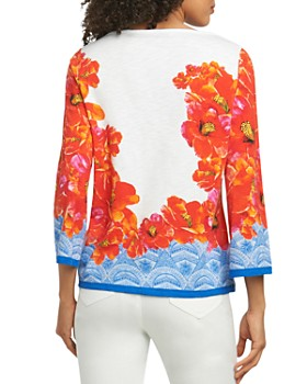 Foxcroft - Hibiscus-Print Knit Top