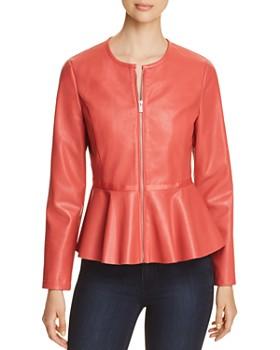 Bagatelle - Perforated Faux-Leather Peplum Jacket